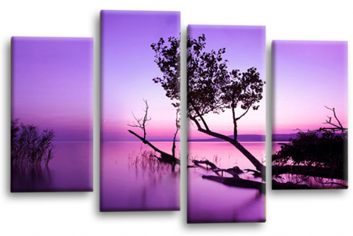 Sunset Landscape Wall Art Picture Purple Cream Canvas Split Panel
